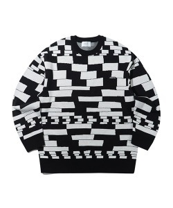 CHECKER BOARD KNIT(BLACK)_CTTZPNT01UC6