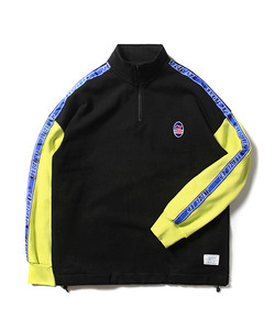 CRT SPORTS TAPED HALF ZIP UP SWEAT SHIRT(BLACK)_CTOEACR06UC6